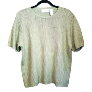 Alfred Dunner Green Short Sleeve Sweater Large